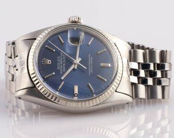 Rolex DateJust Stainless 1980 Blue Face 3035 Quickset