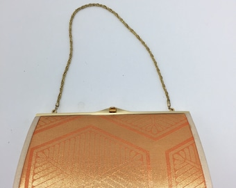 Vintage Orange and Gold Clutch with Chain