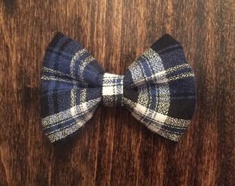 Blue Plaid Bow