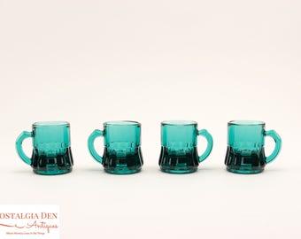 Vintage Shot Glasses | Blue Toy Beer Mugs | Federal Glass