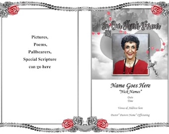 Funeral Service Program Template Personalized Printable