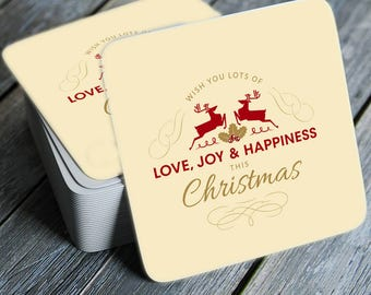 Vintage Wish You Lots of Love Joy And Happiness Coasters Set of 4