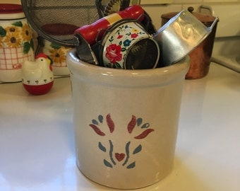 Vintage Robinson Ransbottom High Jar 2qt Pottery Crock Roseville Ohio Made in the USA Collectable Pottery