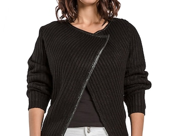 Miss Halladay women cable knit wrap sweater with vegan leather trim asymmetrical