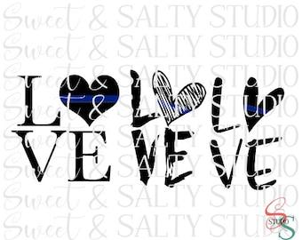 thin blue line love heart digital file (3 versions)