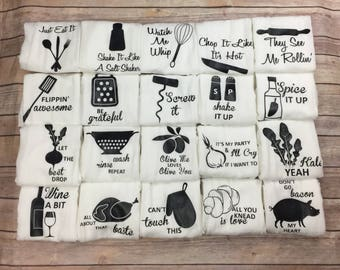 Flour Sack Towel - Mothers Day Gift - Housewarming Gift - Hostess Gift - Gifts for Her - Funny Kitchen Towels - Birthday Gifts for Friend