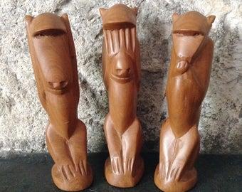 Hear No Evil, See No Evil, Speak No Evil, Wooden Monkeys, Cheeky Monkey, Three Wise Monkeys, Hand Carved, Kitsch
