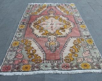 Turkish Vintage Oushak rug, Muted Color Decorative Rug,Homedecor Oushak Anatolian wool area Rug,Ottoman design faded rug,210x130cm,6.8x4.2ft