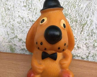 Soviet rubber toy dog - Vintage rubber toy puppy - Russian Children's Toy - Rare rubber dog - Vintage of the USSR