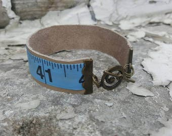Leather measuring tape cuff bracelet - leather cuff - blue measuring tape cuff - leather antique gold cuff