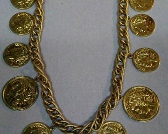 Vintage Republique Franchise Faux Coin Charm Necklace