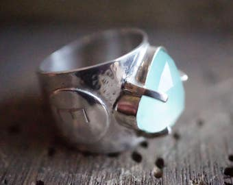 Wide silver ring hammered and forged by hand, stone blue chalcedony - ring for wife - Design Nature and mode - R 4113