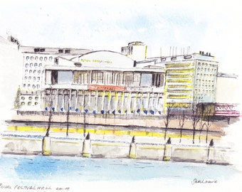 Royal Festival Hall Greetings Card.  Plein Air Painting in Inks and Watercolours December 1988.