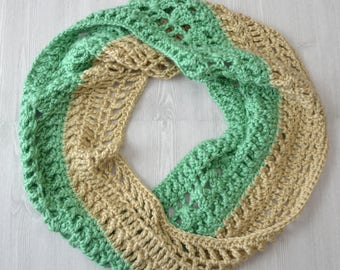 Crochet cowl, mint green, tan, beige, spring time cowl, light scarf, twisted cowl