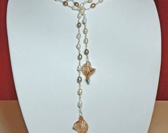 Sterling Silver and Freshwater Pearl Handmade Lariat Necklace