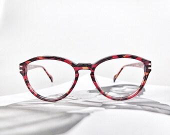 Red Tortoiseshell, Rounded Glasses Frames. Authentic 1980's Vintage.