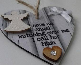 Memorial keepsake, memorial heart, mum in heaven, hanging heart, embellished heart, keepsake gift, bereavement gift, Rustic decor, mum heart