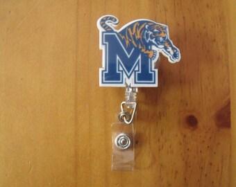 University of Memphis Tigers Retractable Reel ID Badge Lanyard Clip Nursing Scrubs