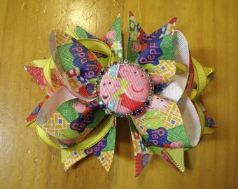 "Peppa Pig 6"" Handmade Boutique Layered Hair Bow - Yellow & Multi Color - Girls - Alligator Hair Clip"