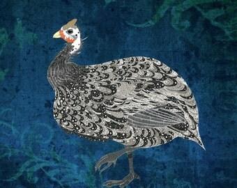 Guinea Fowl - poster print (A3)