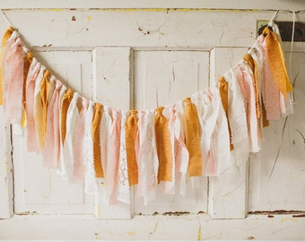 Pink and Gold Fabric Garland, Fabric Garland, Pink and Gold Wedding Decor, Fabric Banner, Baby Girl Shower Decor, Photo Prop,Rag Tie Garland