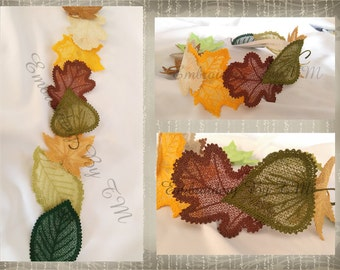 Leaves lace-4x4hoop-Six different leaves- original lace design