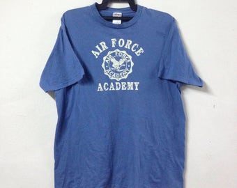 Vintage ALPHA INDUSTRIES T-shirt Air Force Academy Big Logo Made In Usa