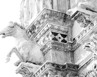 horse statue, Siena, Italy, Siena cathedral, Italian home decor, Italy photography, Italian architecture, large wall art, Romanesque-Gothic