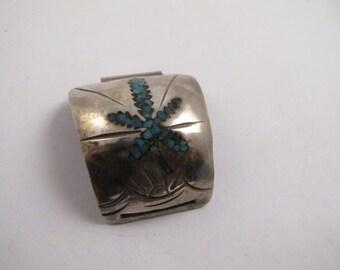 Native Silver Handmade Turquoise Marijuana Leaf Medallion Wrist Jewelry Necklace Pendant
