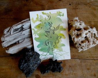 Carte postale pliée nature verte