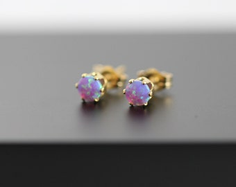 Tiny Lavender Opal Stud Earring in 14kt Gold-Filled Setting