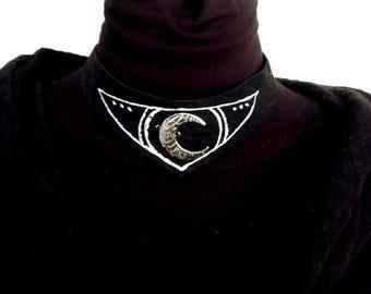 Unique black suede handmade choker necklace with moon pendant