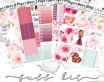 Valerie Full Kit-- ECLP Vertical, Decorative Stickers, Planner Stickers, Anniversary/Floral Kit