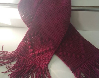 Raised Heart Scarf in Cranberry