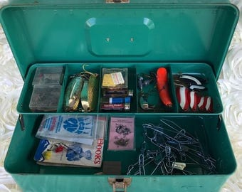 Vintage Green Metal Fishing Tackle Box filled with tackle lures
