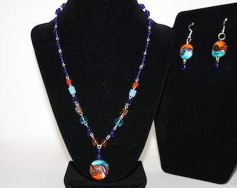 Summer Jewelry Set Lamp Work Beads Glass Necklace Earrings Aqua Blue Orange Copper Cobalt Blue Swirl Cruise Beach Cobalt Version