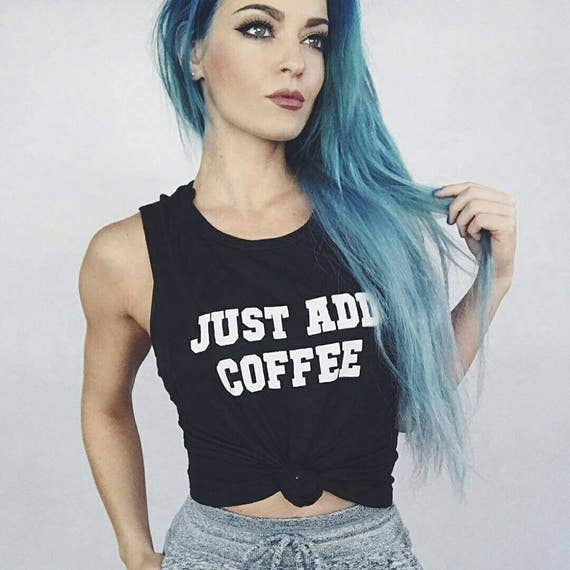 JUST ADD COFFEE, Black Marble Tank Top