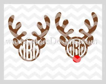 Reindeer Monogram SVG, DXF, PNG Files for Cricut and Silhouette cutting machines Christmas monogram svg files, Reindeer svg file