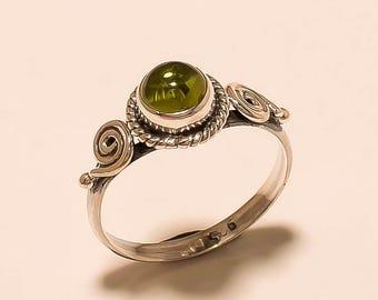 Natural Peridot Ring Cabochon Ring Sterling Silver Ring Peridot Gemstone Ring 925 Solid Sterling Silver Ring Peridot Stone Ring Size6.5 E256