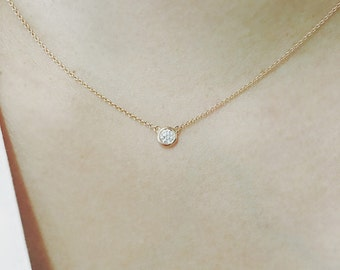 Solitaire Diamond Necklace, 0.20 ct. Brilliant Cut Natural Diamond Bezel Set Necklace, Solitaire Necklace, Minimalist Necklace