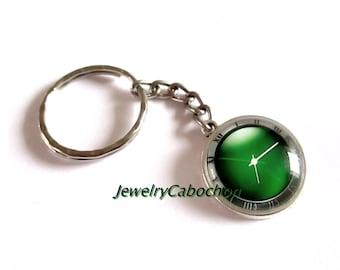 Key ring cabochon, clock, watch, clock, 20mm, green