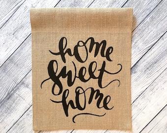 "Burlap Garden Flag - ""Home Sweet Home"""