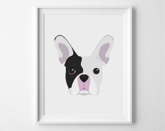 French Bulldog illustrated print - poster - wallart - art - dog print - dog illustration - frenchie