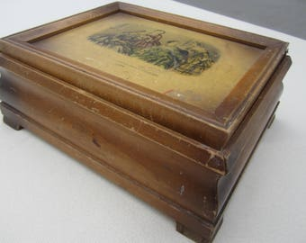 vintage wood jewelry box, Godey's Americanized Paris Fashions 1860, wood box with picture on top, treasure box, wood box with mirror