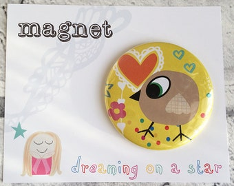 Fridge Magnet, Kawaii Magnet, Cute magnet, Party Favors, Cute Gifts, Birthday gift, Bird Magnet, Round Magnet, 58mm magnet, Office Decor