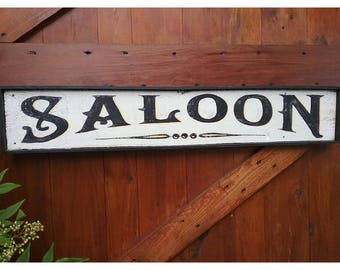 Distressed Farmhouse Style Hand Painted SALOON Wood Framed Sign LARGE 3'
