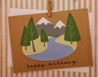Nature Birthday Card, Mountains Birthday Card, Handmade Nature Card, Handmade Birthday Card, Colorado Birthday Card