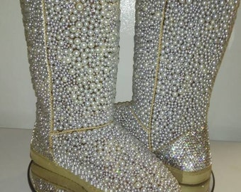 Bling Uggs Bling inspired uggs pearl uggs  customized uggs ,bling bear paws
