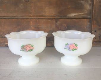 Pair of Vintage Milk Glass Compotes, Avon Milk Glass, Dish, Planter, Floral Vanity Set, Cottage Chic, Farmhouse Style, Rustic, Home Decor