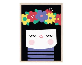 Happy brunette girl. Blade, printable, printing, painting, decoration, flowers, spring, colorful